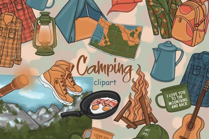 Camping CLIPART Travel Adventure Coffee Fashion Girl - PNG