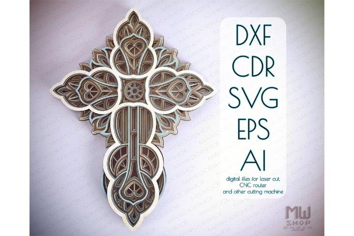 Cr24 - Multilayer Cross, Laser cut Cross, Cricut Cross SVG