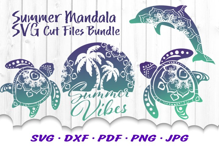 Summer Vibes Beach Mandala SVG DXF Cut Files Bundle