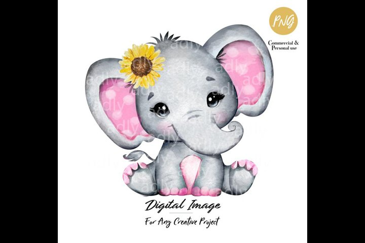 Pink and gray baby elephant with sunflower, clip art