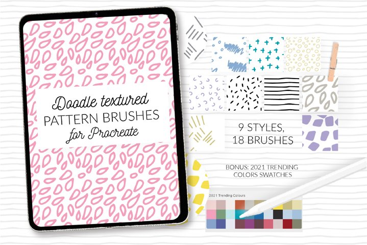 Doodle dots Procreate stamps. Abstract texture brushes
