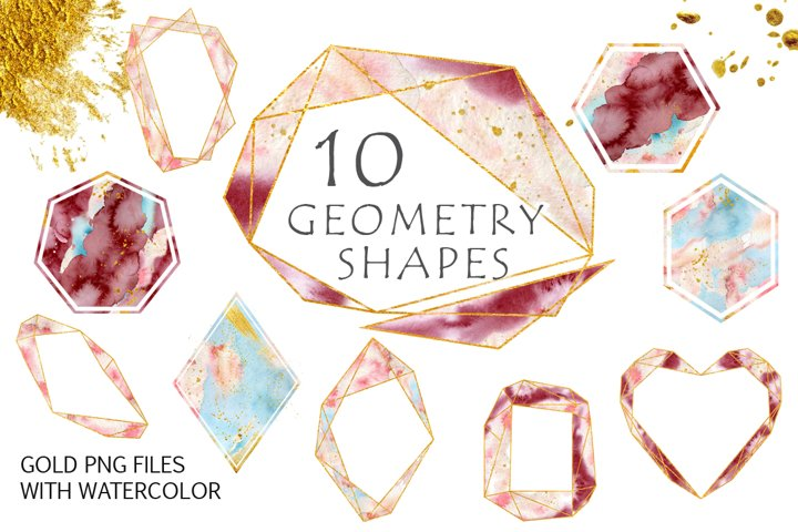 Gold Geometry shapes with watercolor Vol. 3
