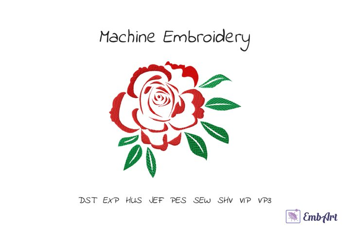 Red Rose with Leaves - Embroidery Design