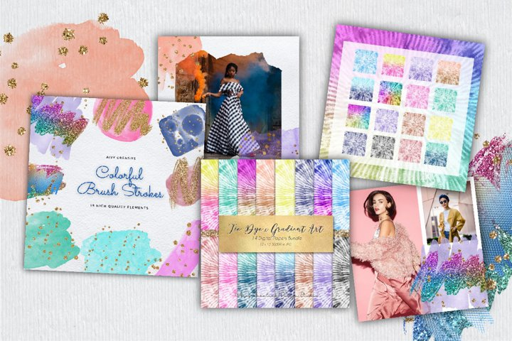 Colorful Abstract Clipart and Digital Papers Collection