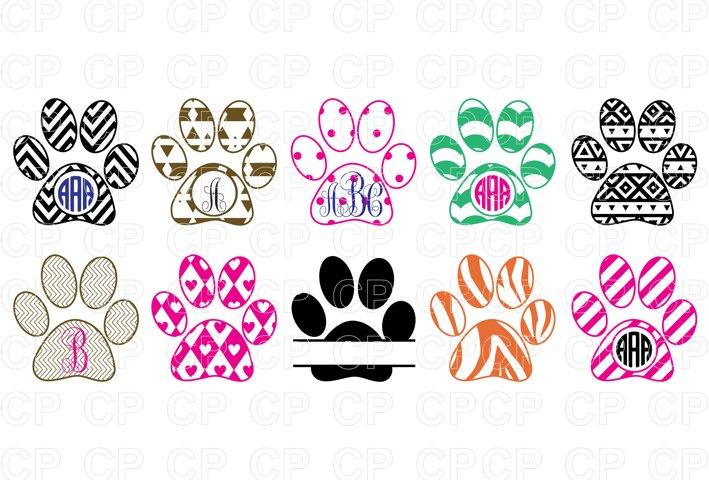 Paw Print Bundle SVG Cut Files, Paw Clipart