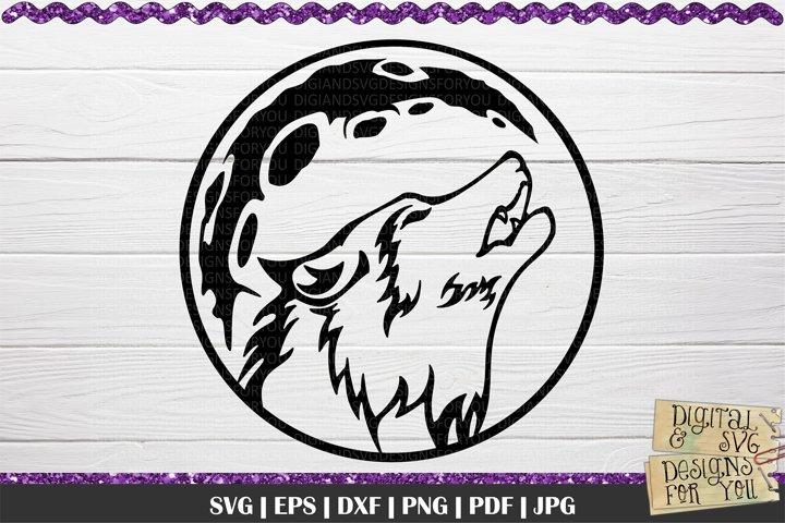Wolf SVG | Wolf head svg | Wildlife svg | Wolf full moon svg