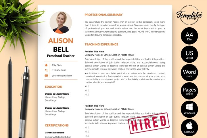 Teacher Resume CV Template for Word & Pages Alison Bell