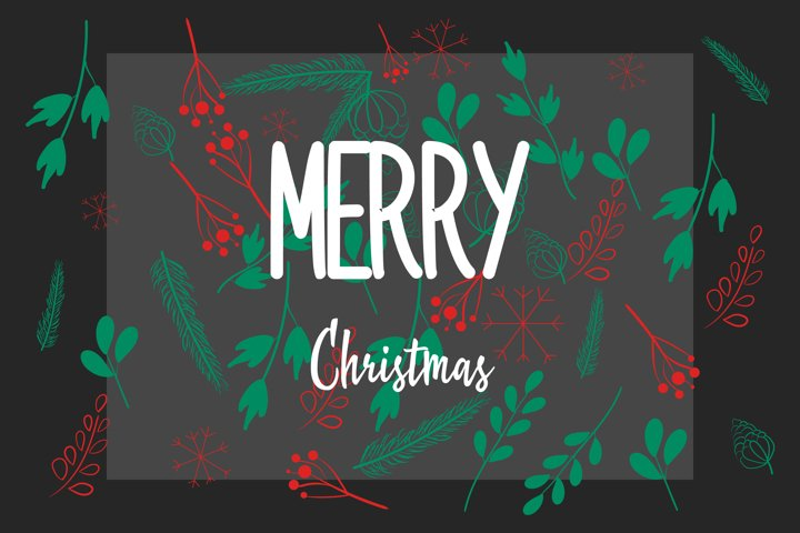 Christmas floral background isolated vector illustration.