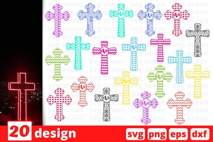 20 CROSS MONOGRAM SVG BUNDLE | Circle monogram | Cross