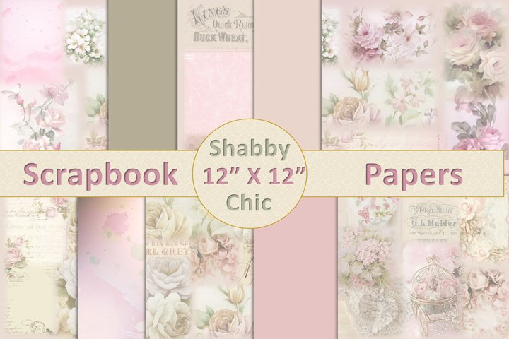 Vintage Shabby Chic Scrapbook Paper 12 x 12