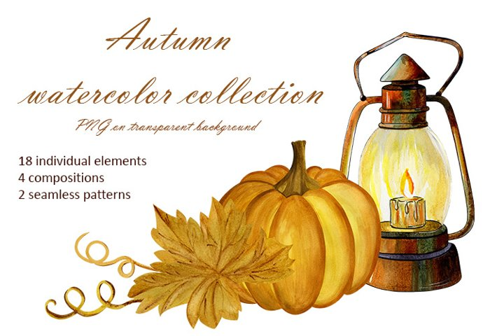 Autumn watercolor hand painted collection