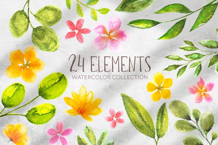 24 watercolor elements