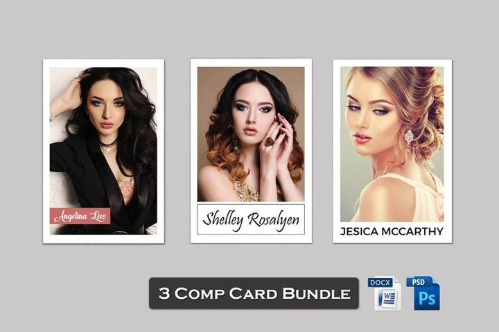 Modeling Comp Card Template Bundle, MS Word & Photoshop File