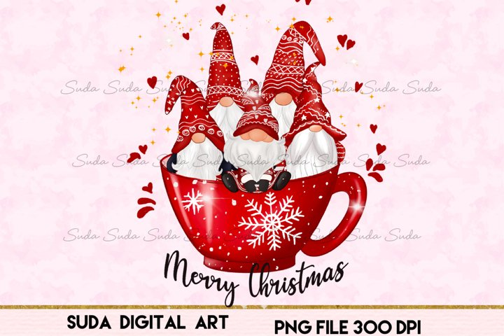 Christmas cup cute gnomes sublimation