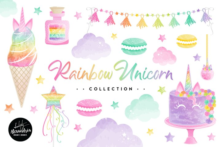 Rainbow Unicorn Clipart Graphics & Digital Paper Patterns Bundle