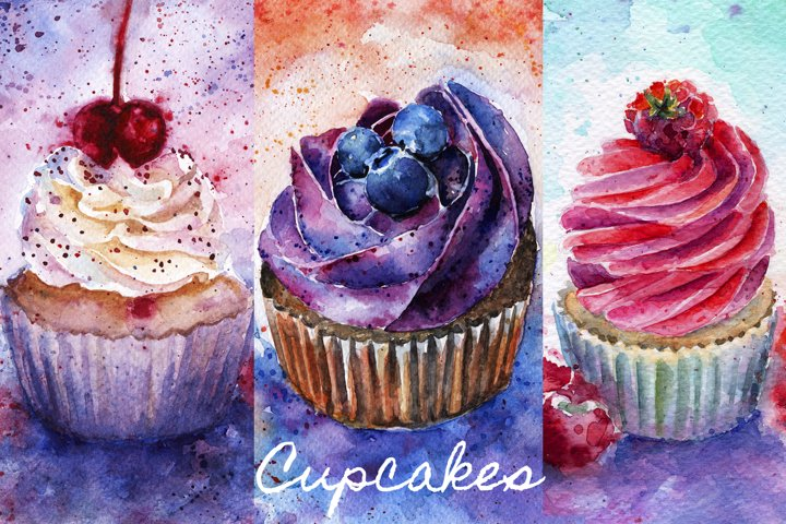 Watercolor cupcakes with cherry, blueberry, raspberries.