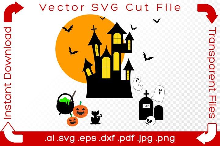 Halloween Haunted House SVG Scene Holiday Cut Files Bundle