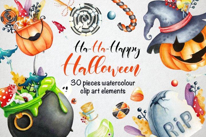 Watercolor Happy Halloween Clipart Set.