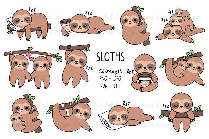 Sloths clipart set - 12 Sloth images & 12 texts - Bundle