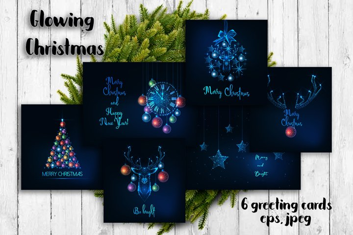 Glowing Christmas. Greeting cards.