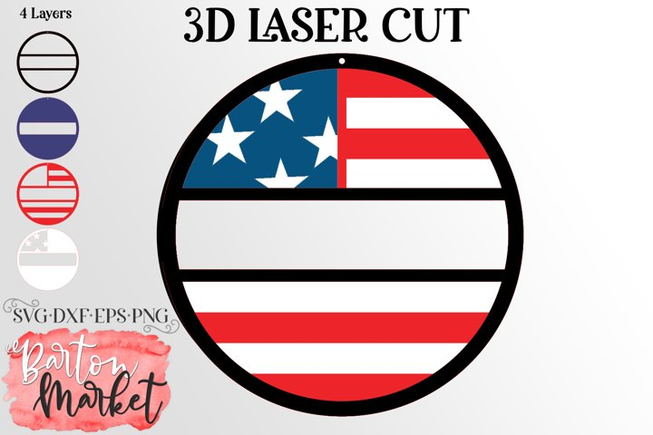 3D USA Door Hanger for Laser