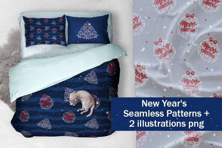 New year and Meryy Christmas patterns