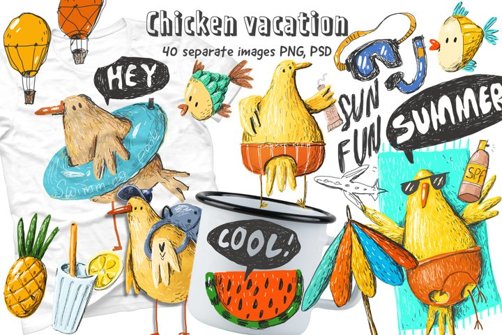 Chicken vacation doodle set