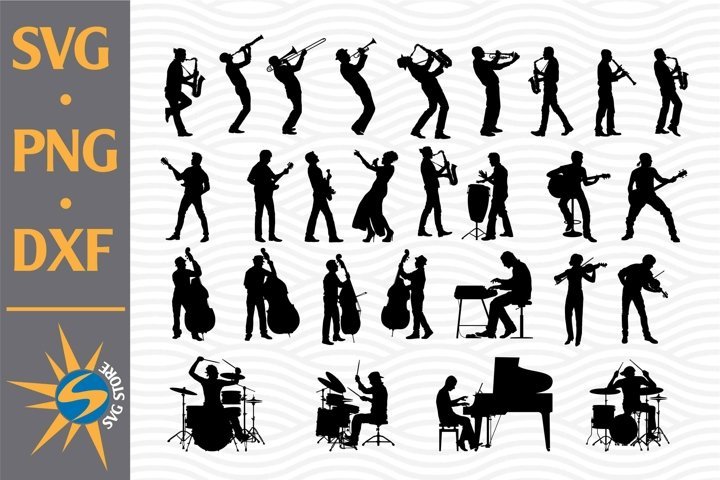 Musician Silhouette SVG, PNG, DXF Digital Files Include