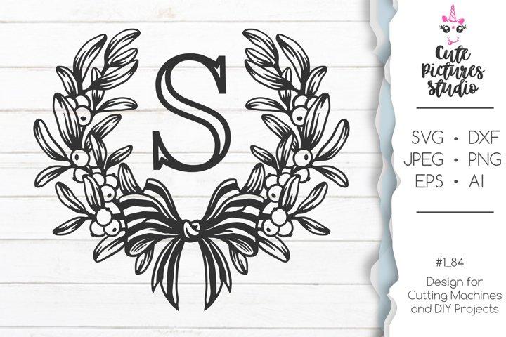 Winter floral wedding monogram frame SVG cut file, dxf, eps