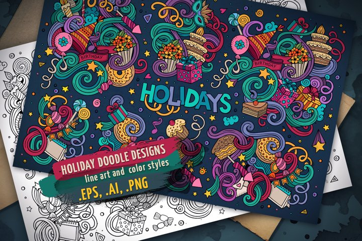 Holiday Doodle Designs Set