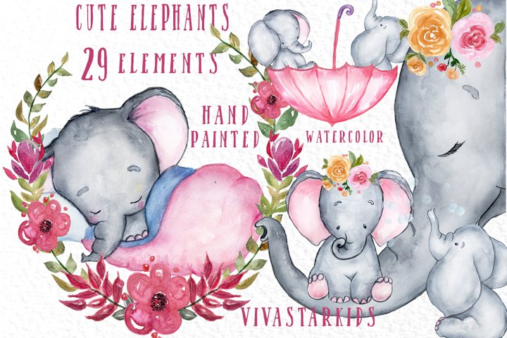 Cute Elephant clipart,WATERCOLOR ANIMALS, Baby shower clipat