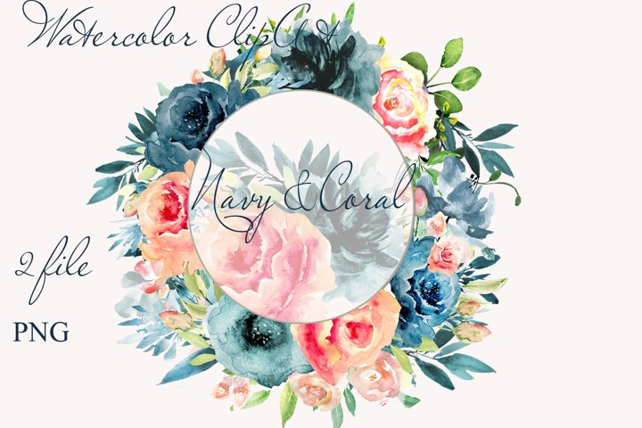 Wreath clipart Watercolor Coral Navy Flowers Frame invite