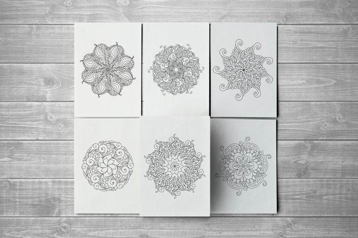 10 zentangle inspired mandala therapeutic coloring pages