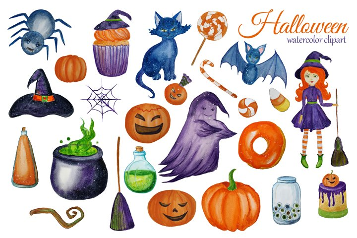 Watercolor Cute Halloween Clipart. Witch clip art example 4