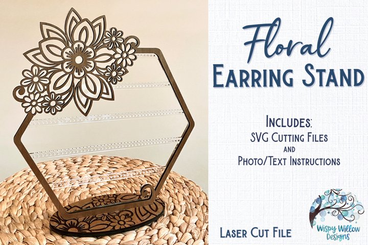 Floral Earring Stand for Glowforge or Laser Cutter