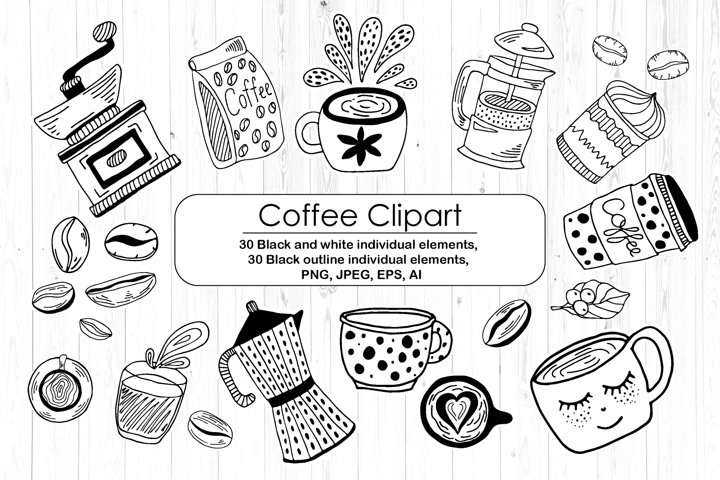 Black And White Coffee Clipart - Doodles Line Art Set