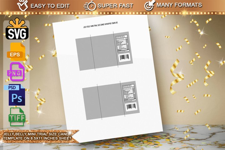 Jelly Belly mini trial size Wrapper Template