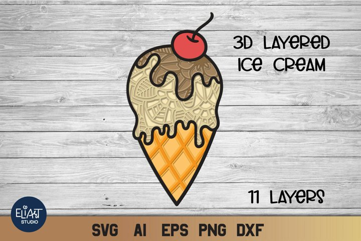 3d Layered Ice Cream SVG | Summer SVG Cut File