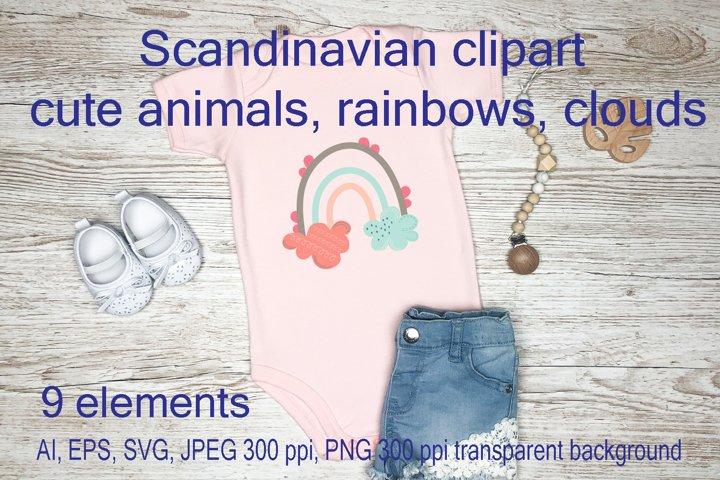 Scandinavian clipart cute animals, rainbows, clouds