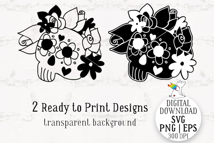 Skull SVG, Skull Roses Flowers, Clipart SVG, Ready to Print