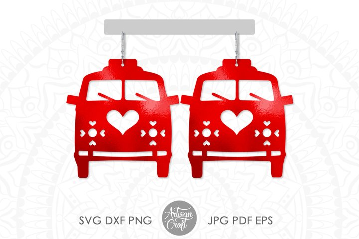 Camper van earrings, hippie earrings, valentines day jewelry