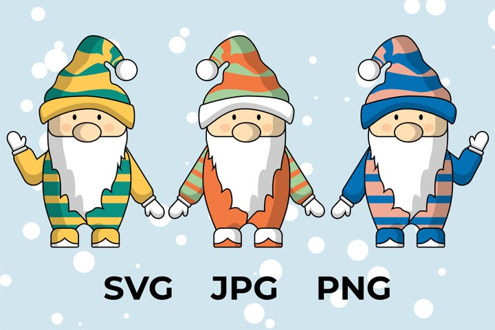 Line pattern digital vector Christmas gnomes SVG clipart