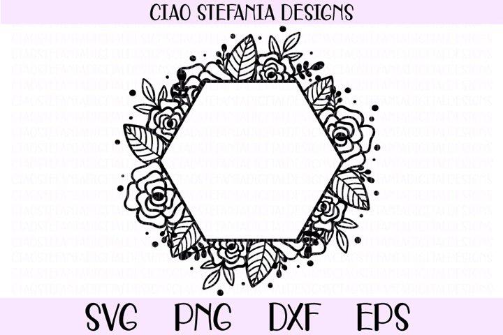 Flower Geometric Hexagon Wedding Frame SVG Cut File