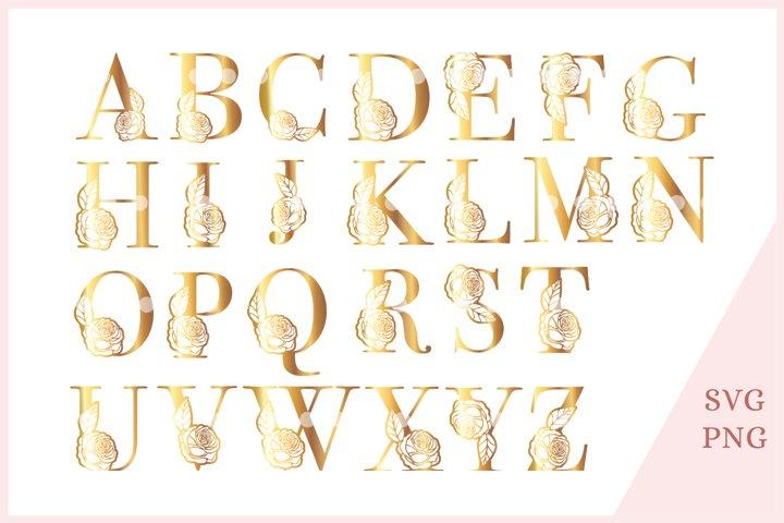 Golden rose monogram alphabet SVG, golden letters clipart