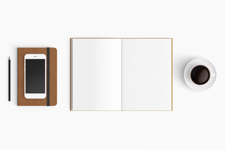 Modern workplace. Top view. Flat lay style. 30