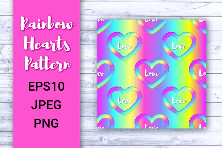 Digital paper Rainbow pattern with heart and word Love