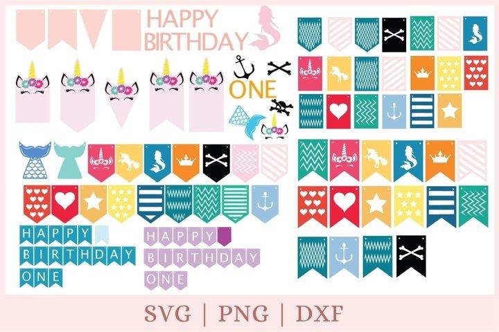banner svg, birthday banner svg, birthday svg, 1st birthday