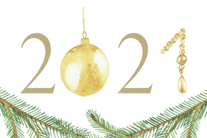 Watercolor new year card set, christmas tree ball, toy decor