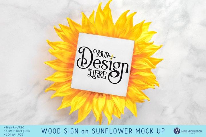 Wood Sign Sunflower mockup | styled photo