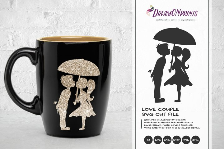 Love Couple SVG - Kissing Boy and Girl SVG